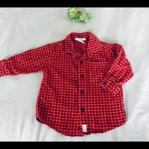 Janie & Jack Red flannel boys 12-18 months